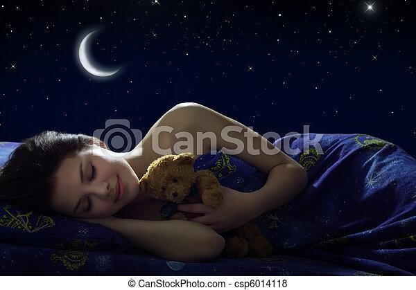 menina, dormir - csp6014118