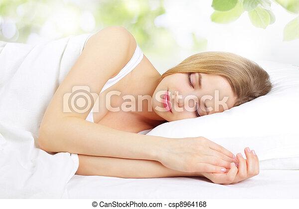 menina, dormir - csp8964168
