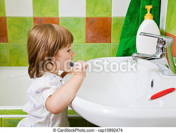 menina, escovas, teeth. - csp10892474
