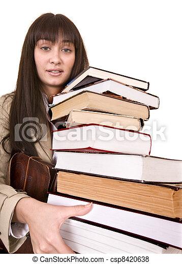 menina, inteligente, grupo, book. - csp8420638