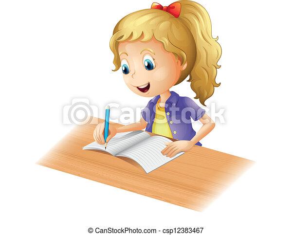 menina, jovem, escrita - csp12383467
