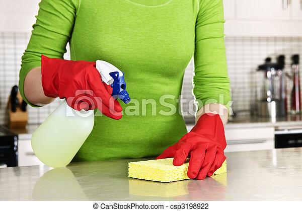 menina, limpeza, cozinha - csp3198922