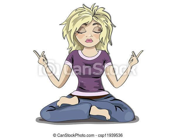 Menina Meditacao Loura Engracado Personagem Jovem Meditation