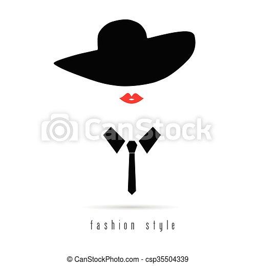 d39a3b6ab351b Menina, moda, chapéu, ilustração, ícone. Moda, coloridos, ilustração ...