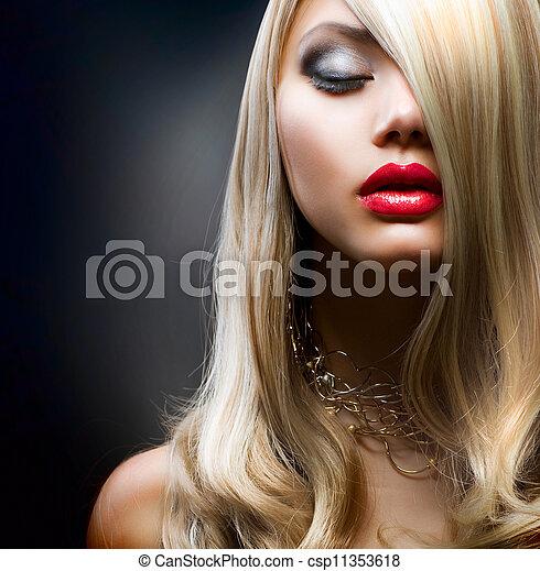 menina, moda, loura - csp11353618