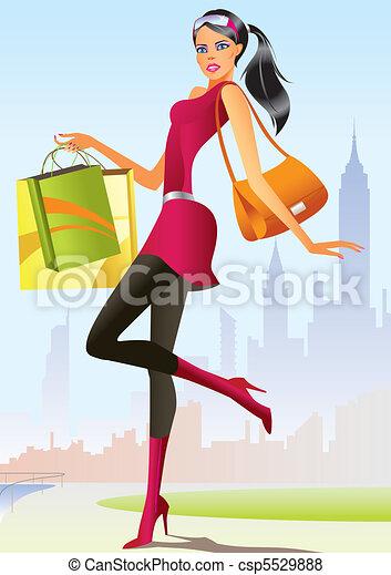 menina, moda, shopping - csp5529888
