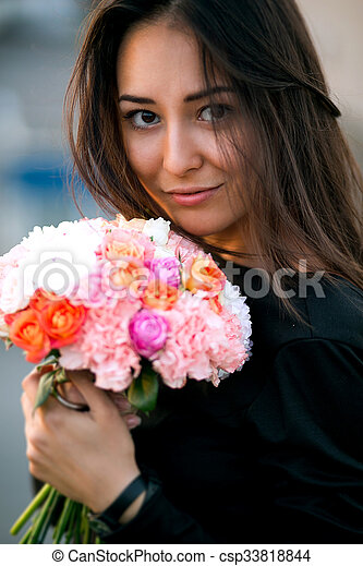 menina, modelo, moda, flores, beleza - csp33818844