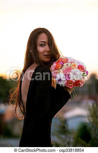 menina, modelo, moda, flores, beleza - csp33818854