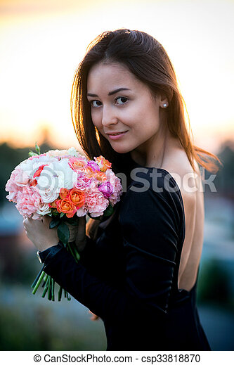 menina, modelo, moda, flores, beleza - csp33818870