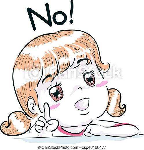 menina, não, dedo, criança, ponto - csp48108477