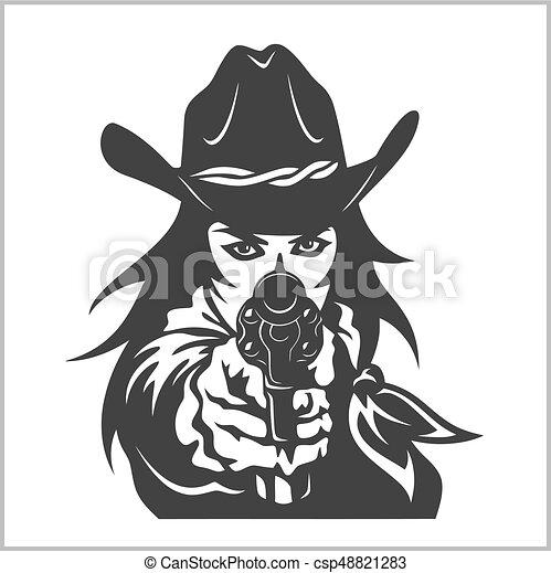 menina, ocidental, revólver - csp48821283
