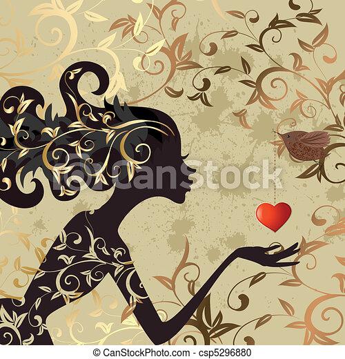 menina, pássaro, valentine - csp5296880