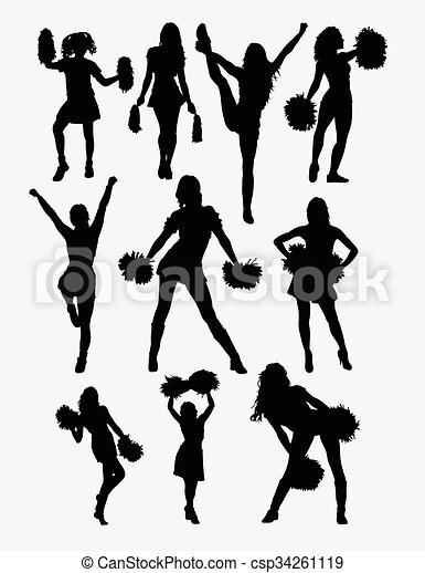 menina, pose, silueta, cheerleader - csp34261119