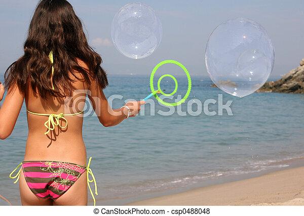 menina, praia - csp0488048