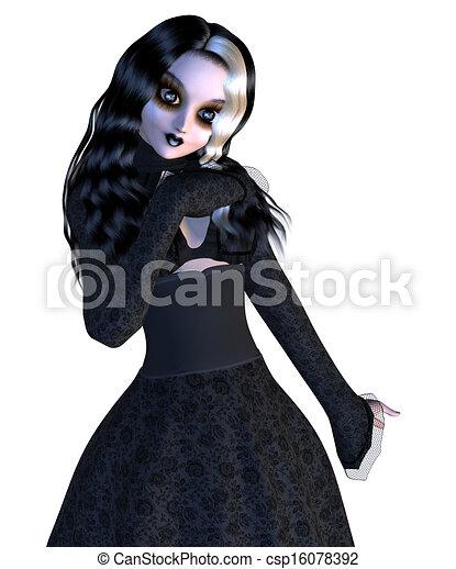 menina preta, gótico, vestido - csp16078392