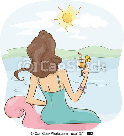 menina, relaxante - csp13711883