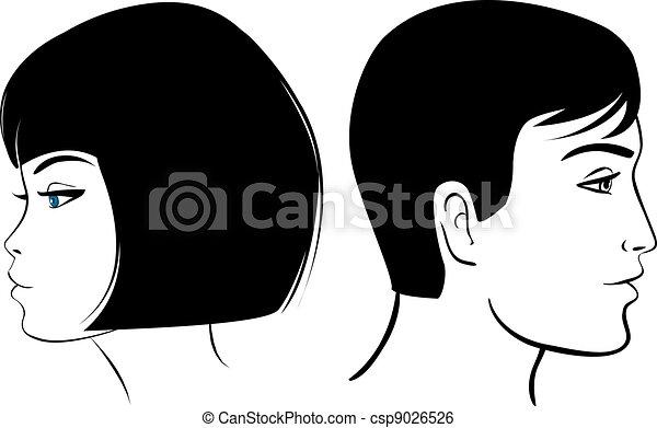 Menina Rosto Homem Clipart Coloridos Ilustracao Rosto