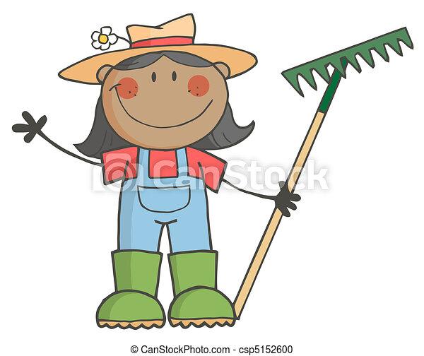 menina, segurando, pretas, agricultor, ancinho - csp5152600