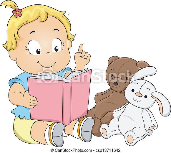menina, toddler, tocando, professor - csp13711642