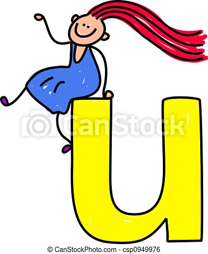 Menina u letra gigante lowercase sentando pequeno verso menina u letra csp0949976 stopboris Image collections