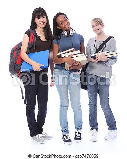 meninas adolescentes, estudante, étnico, educação, feliz - csp7476059