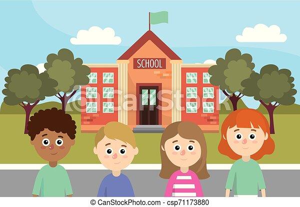 menino, pequeno, conceito, livros, mochila, escola, costas, menina