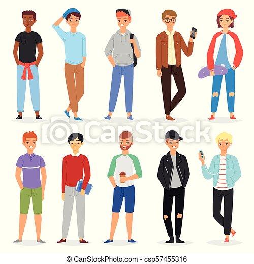 menino adolescente, adolescente, jogo, estudante, ou, personagem, jovem, ilustração, isolado, juventude, pessoa, vetorial, juvenil, fundo, branca, namorado, sujeito, macho, bonito - csp57455316