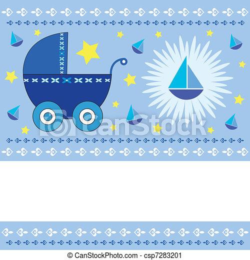 menino bebê, chegada, cartão - csp7283201