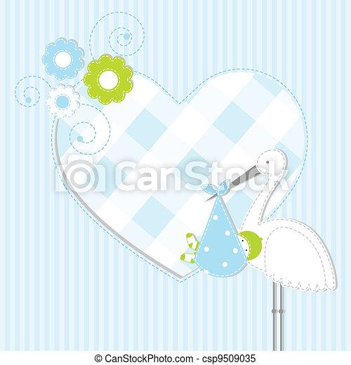 menino bebê, chegada, cartão - csp9509035