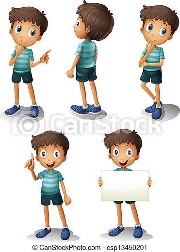 menino, diferente, jovem, posições - csp13450201