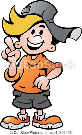 menino, escola, apontar, feliz - csp12395426