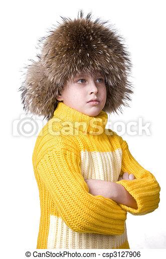 menino, feliz, pele, jovem, chapéu - csp3127906