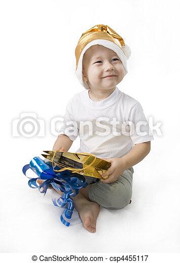 menino, feliz, presente, santa, segurando - csp4455117