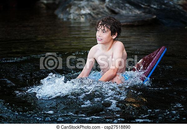 menino, flutuante, lago - csp27518890