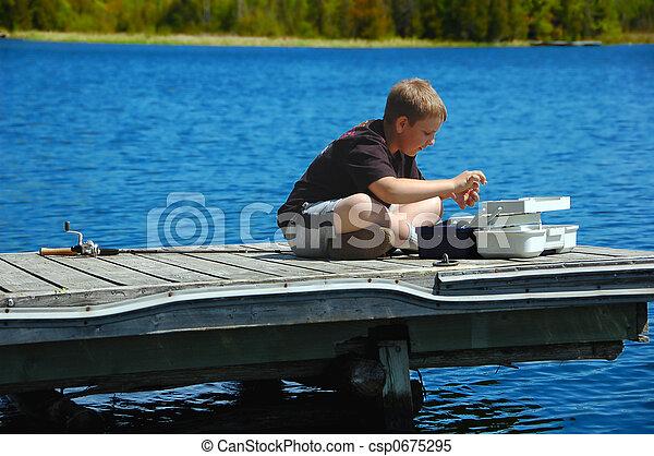 menino, jovem, pesca - csp0675295
