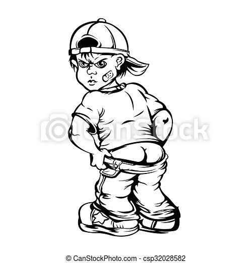 menino, mostrando, seu, rude, alvo - csp32028582