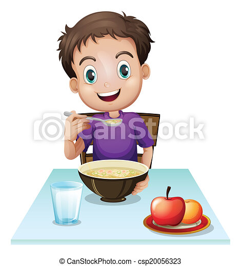 menino, pequeno almoço, seu, comer, tabela - csp20056323