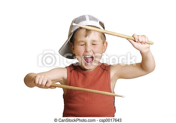menino, pequeno, baterista - csp0017643