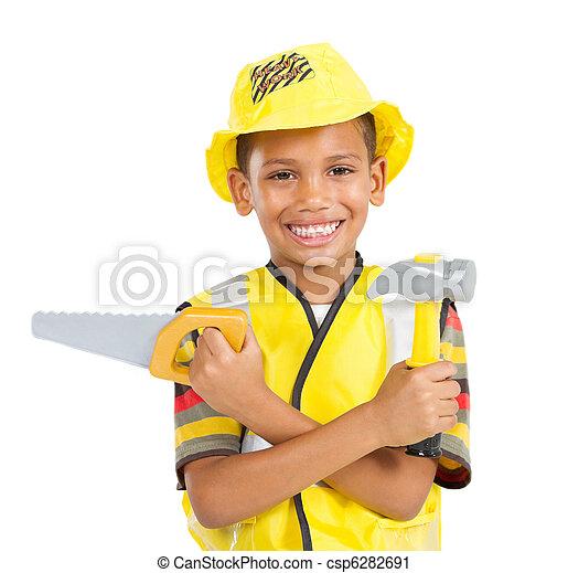 menino, pequeno, construtor, uniforme - csp6282691