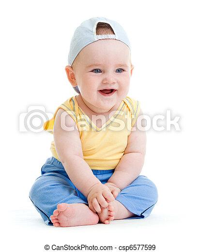 menino, pequeno, tiro, isolado, estúdio, sorrindo - csp6577599