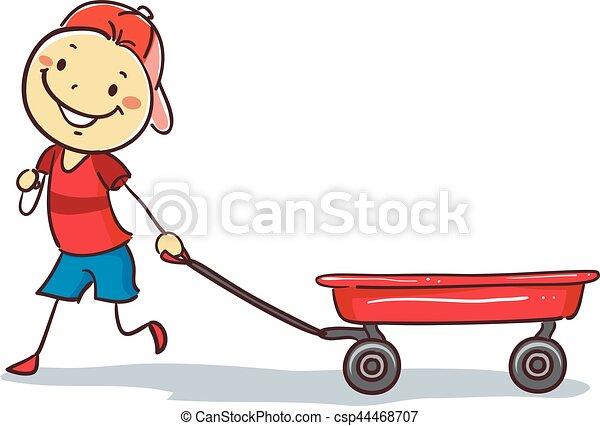 menino, puxando, stickman, vagão vermelho - csp44468707