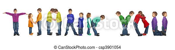 menino, tu, palavra, agradecer, colagem, fazer, menina - csp3901054