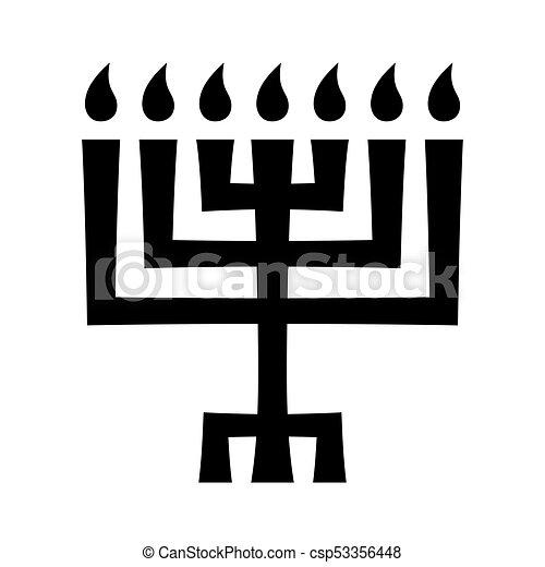 Menorah (ancient Hebrew sacred seven-candleholder) - csp53356448