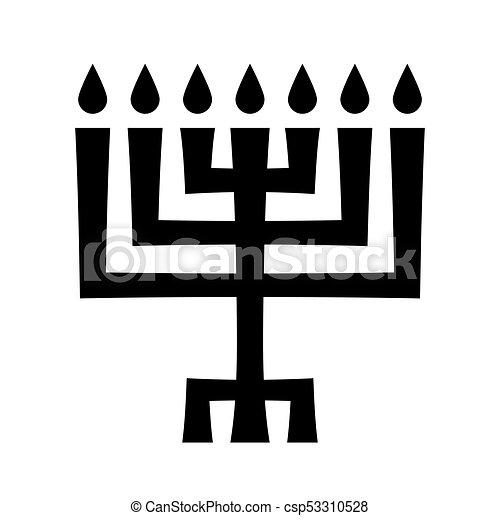 Menorah (ancient Hebrew sacred seven-candleholder) - csp53310528