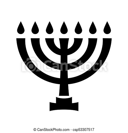Menorah (ancient Hebrew sacred seven-candleholder) - csp53307517