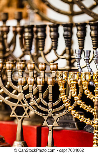 Menorah for sale in shop in the Jerusalem old city market. - csp17084062