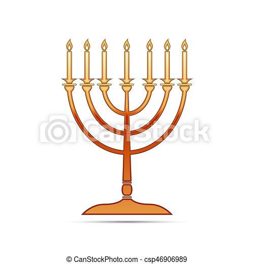 Un icono menorah dorado de Hanukkah sobre fondo blanco. Ilustración de vectores - csp46906989