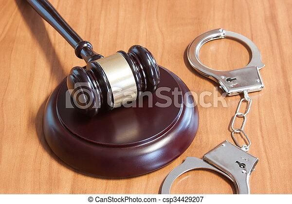menottes, judiciaire, marteau - csp34429207