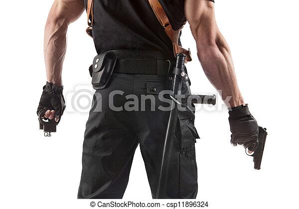 menottes, police, fusil, officier - csp11896324