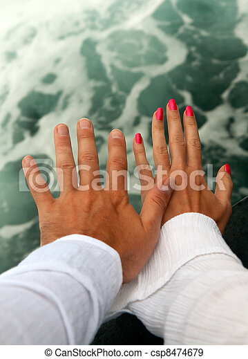 Men's and Women's tanned hands - csp8474679